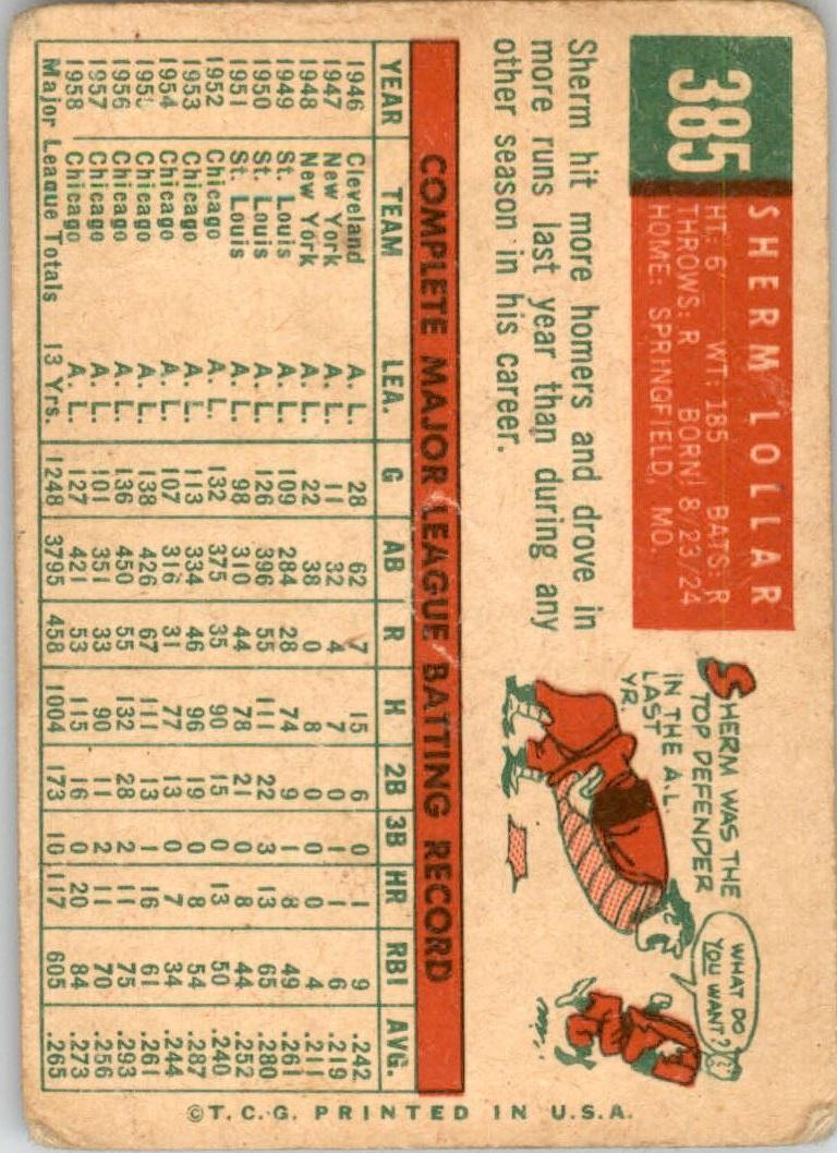 1959 Topps #385 Sherm Lollar back image