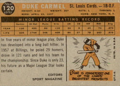 1960 Topps #120 Duke Carmel RS RC back image