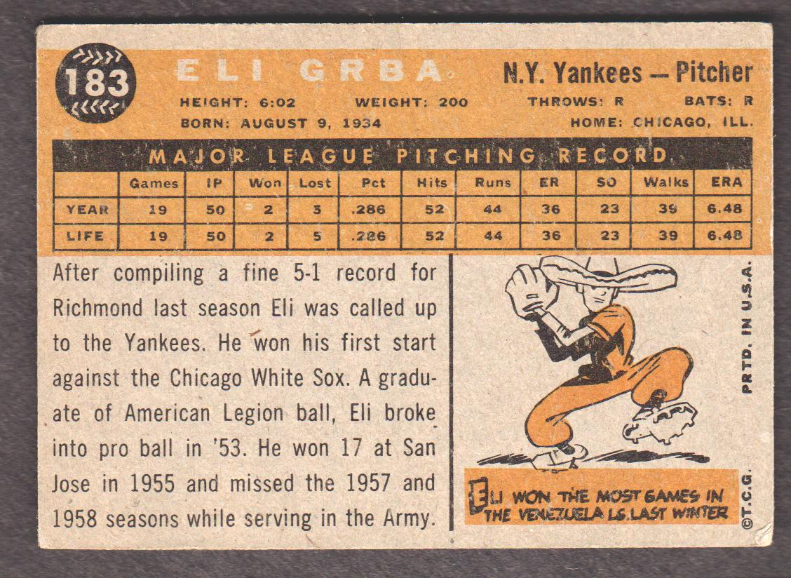 1960 Topps #183 Eli Grba RC back image