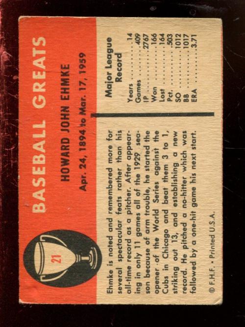 1961 Fleer #21 Howard Ehmke back image