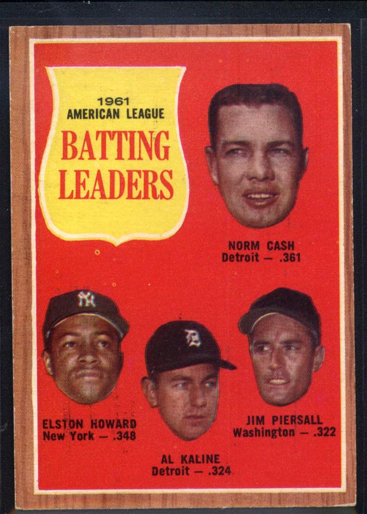 1962 Topps #51 AL Batting Leaders/Norm Cash/Jim Piersall/Al Kaline/Elston Howard