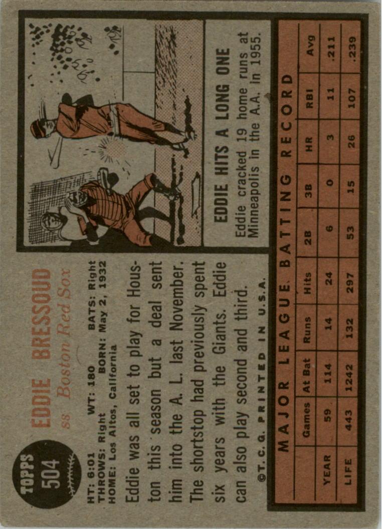 1962 Topps #504 Eddie Bressoud back image