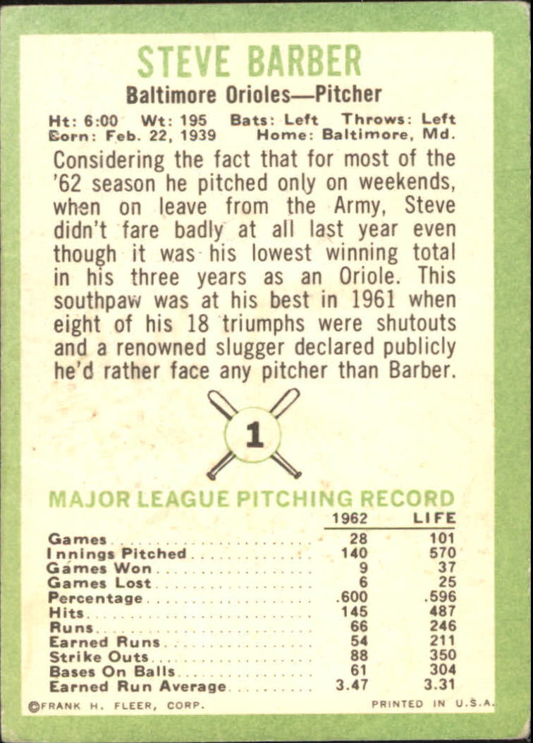 1963 Fleer #1 Steve Barber back image