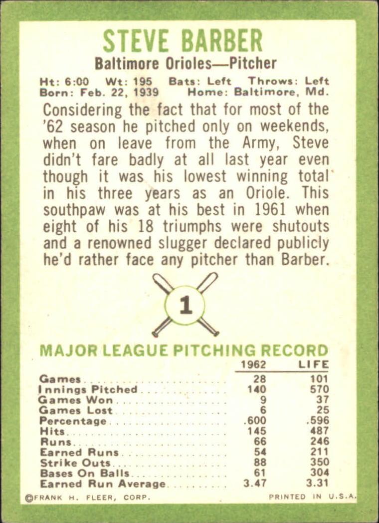 1963 Fleer #1 Steve Barber back image