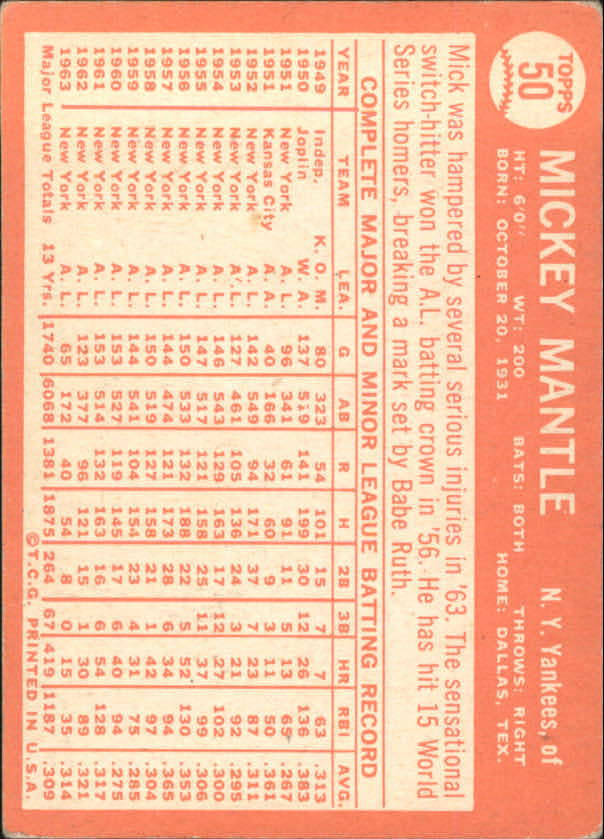 1964 Topps #50 Mickey Mantle back image