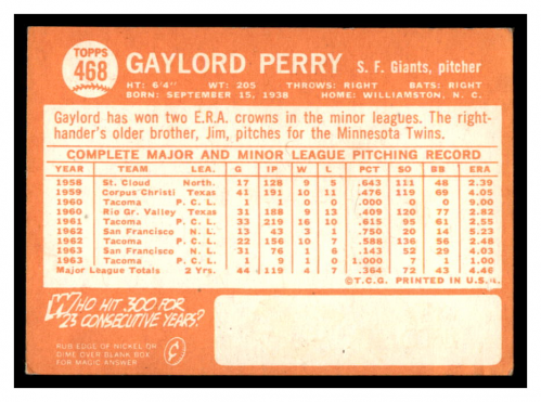 1964 Topps #468 Gaylord Perry back image