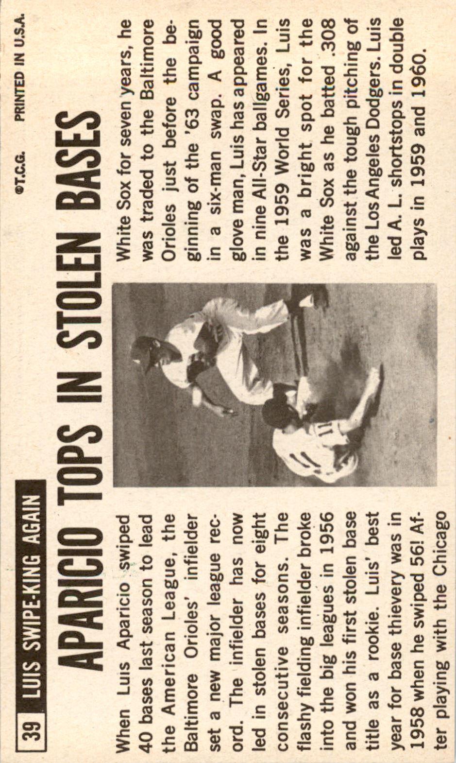 1964 Topps Giants #39 Luis Aparicio back image
