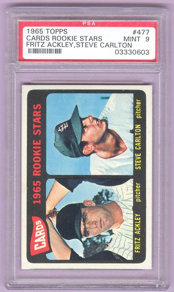 1965 Topps #477 Rookie Stars/Fritz Ackley/Steve Carlton RC