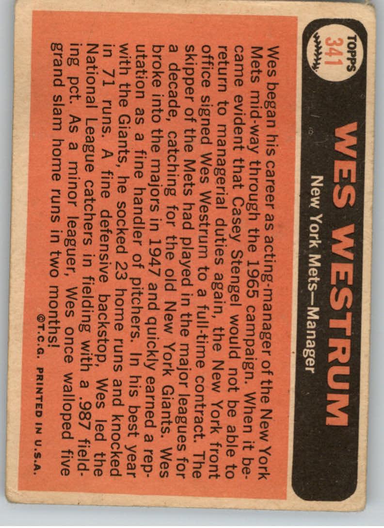 1966 Topps #341 Wes Westrum MG back image