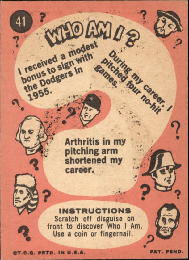 1967 Topps Who am I #41 Sandy Koufax back image