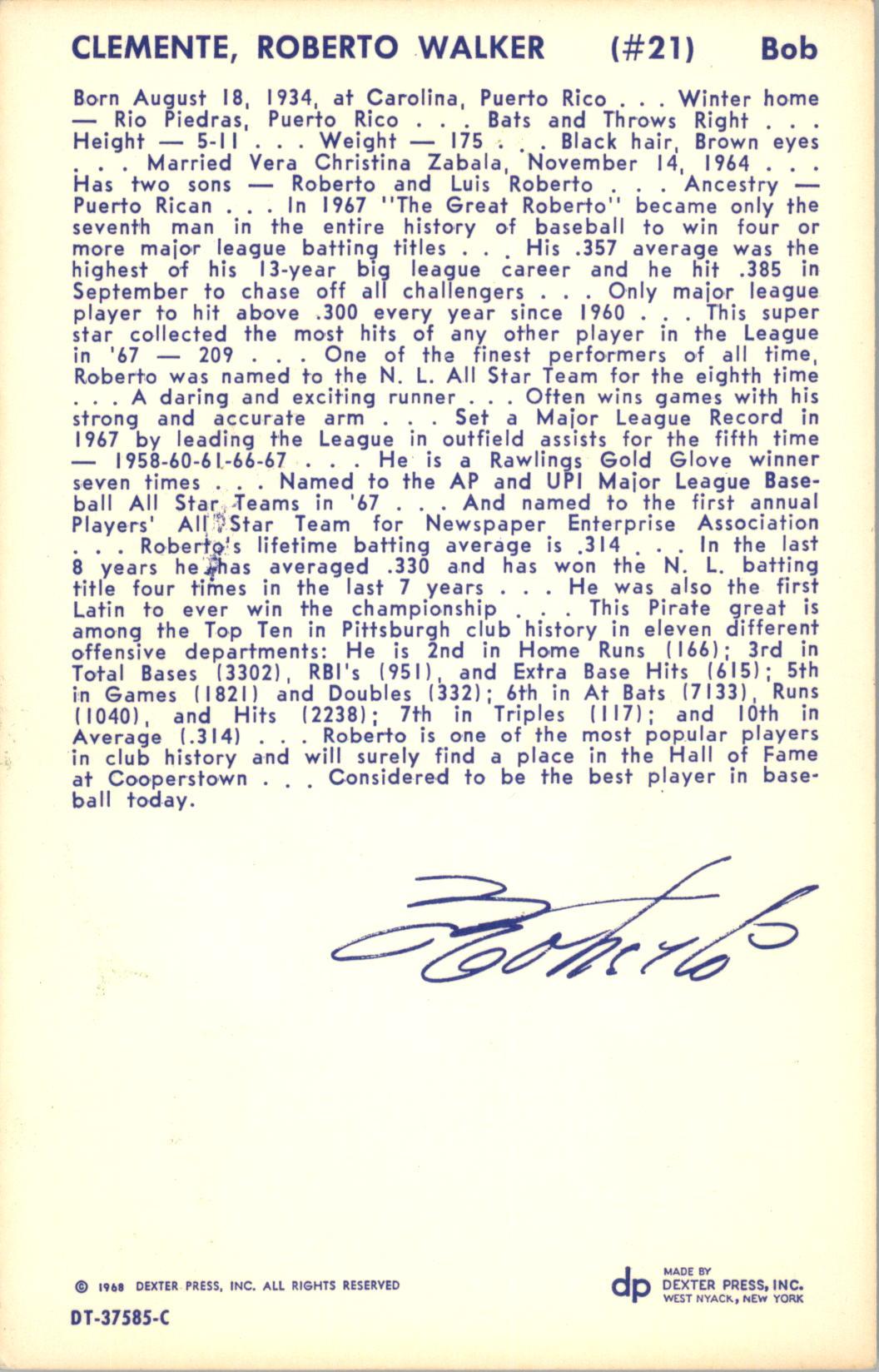 1968 Dexter Press #24 Roberto Clemente back image