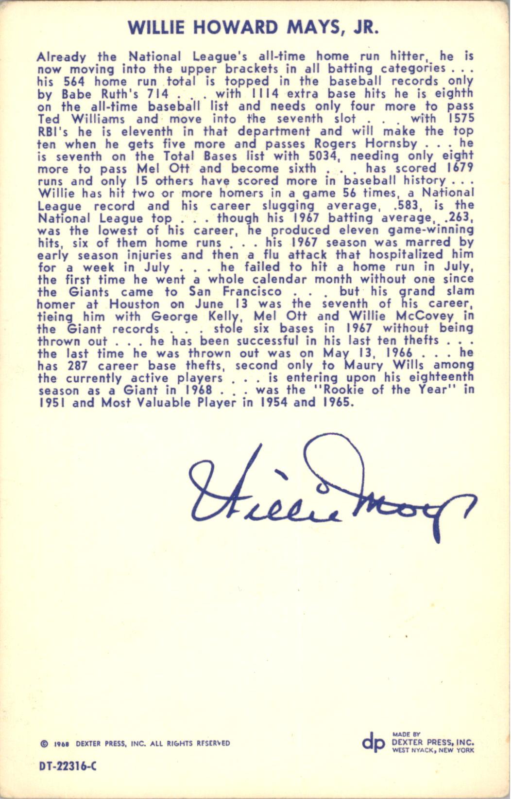 1968 Dexter Press #51 Willie Mays back image