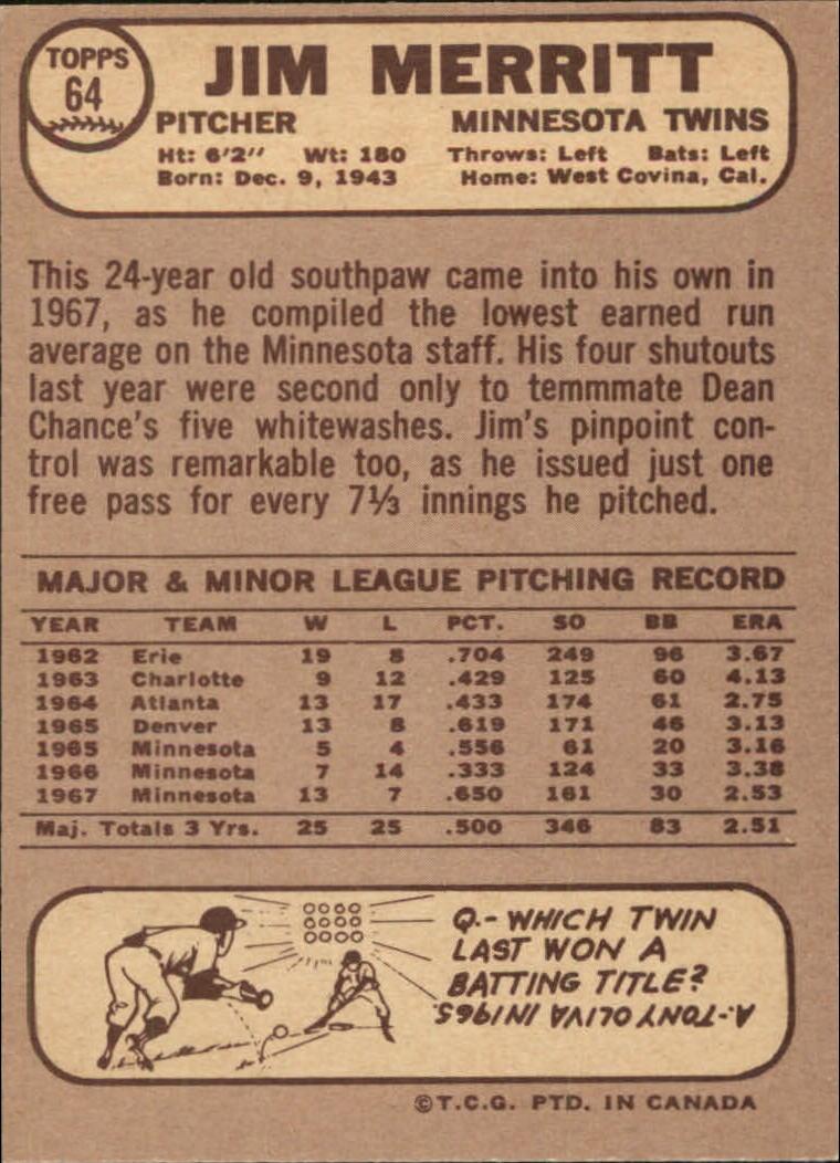 1968 O-Pee-Chee #64 Jim Merritt back image