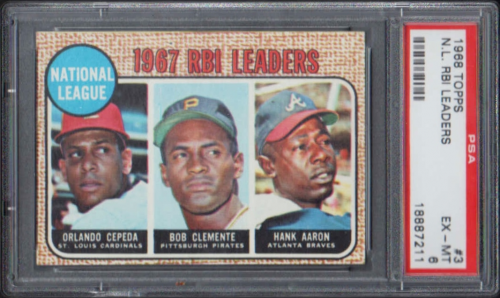 1968 Topps #3 NL RBI Leaders/Orlando Cepeda/Roberto Clemente/Hank Aaron