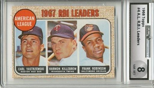 1968 Topps #4 AL RBI Leaders/Carl Yastrzemski/Harmon Killebrew/Frank Robinson
