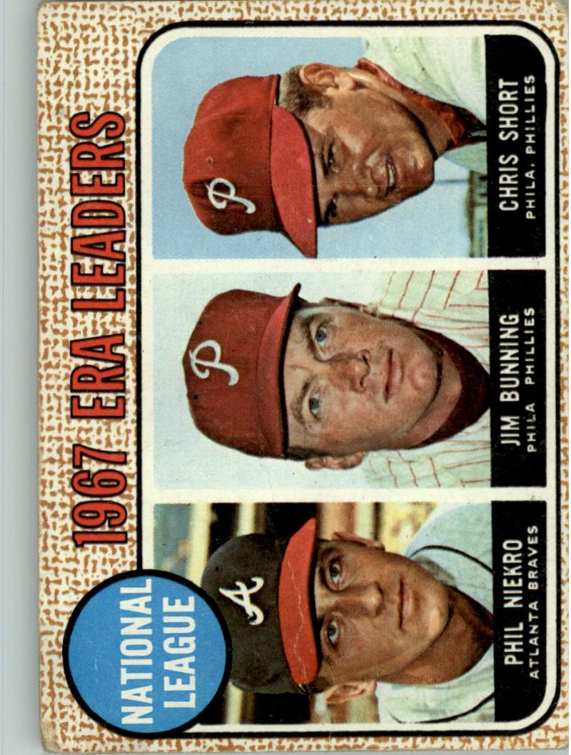 1968 Topps #7 NL ERA Leaders/Phil Niekro/Jim Bunning/Chris Short