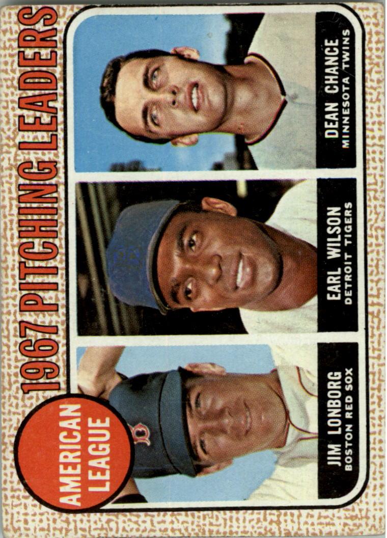 1968 Topps #10A AL Pitching Leaders/Jim Lonborg ERR/Misspelled Lonberg/on card back/Earl Wilson/Dean Chance