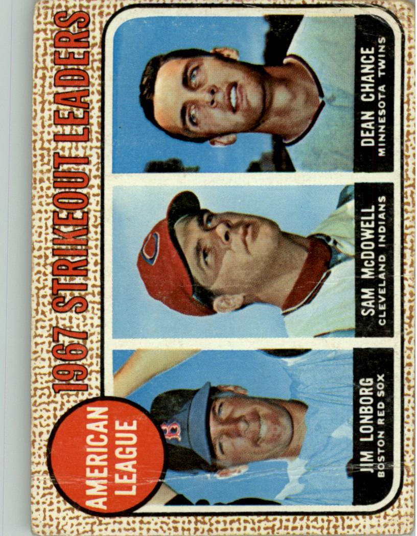 1968 Topps #12 AL Strikeout Leaders/Jim Lonborg/Sam McDowell/Dean Chance