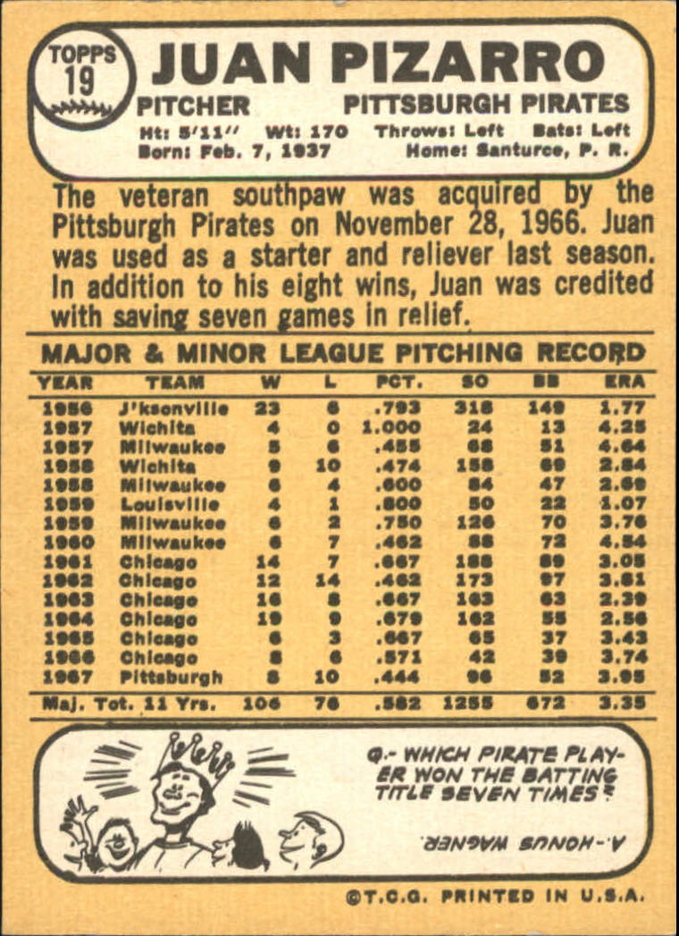 1968 Topps #19 Juan Pizarro back image