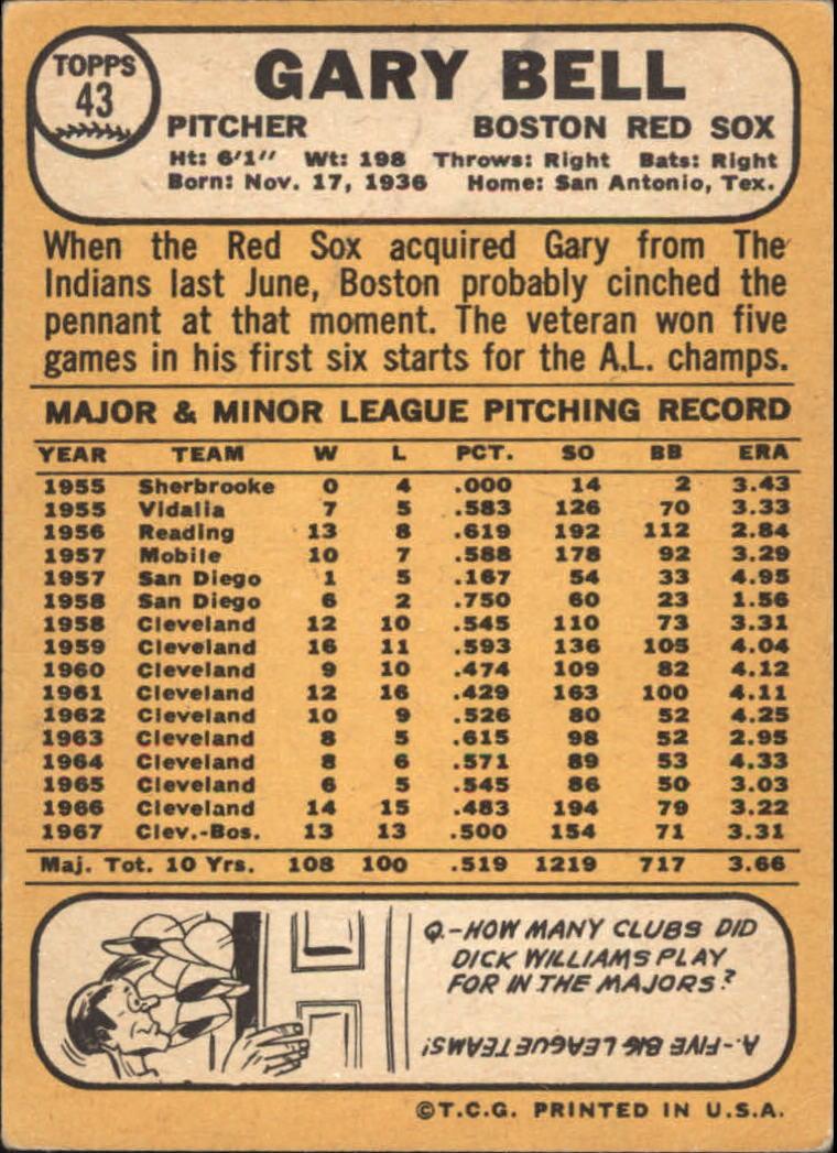 1968 Topps #43 Gary Bell back image