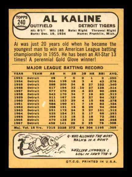 1968 Topps #240 Al Kaline back image