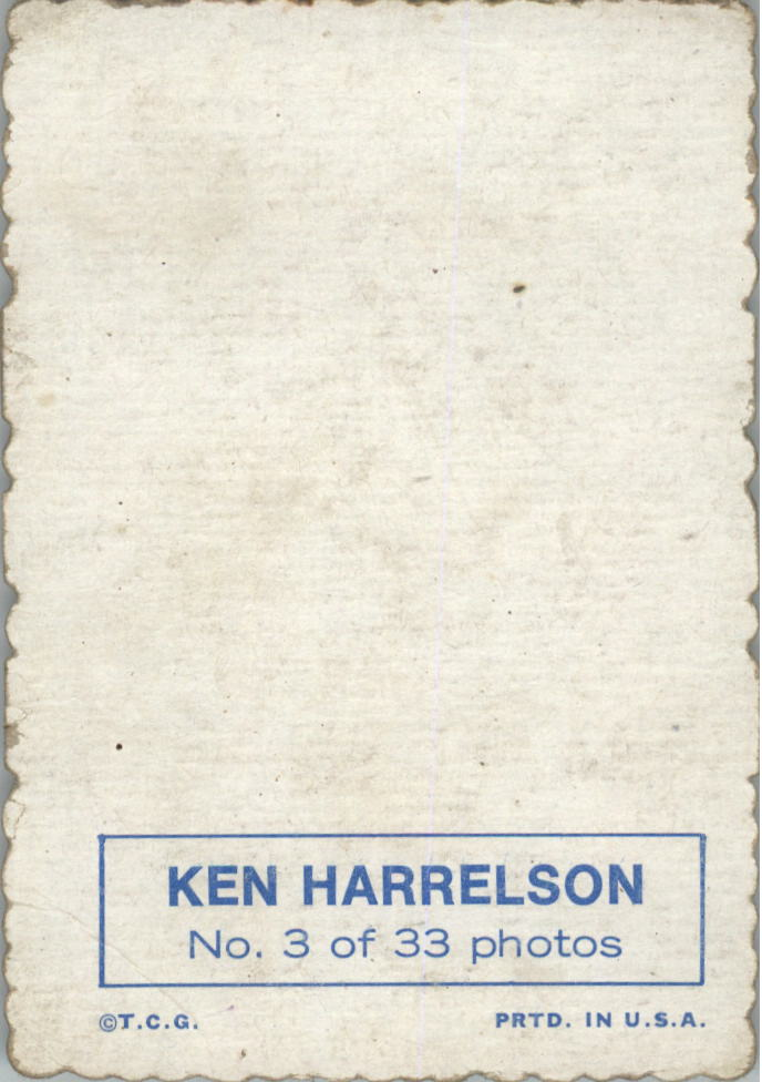 1969 Topps Deckle Edge #3 Ken Harrelson back image