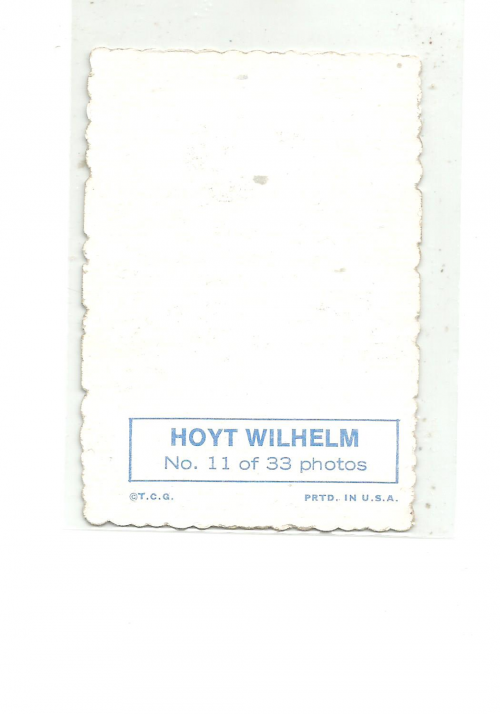 1969 Topps Deckle Edge #11A Hoyt Wilhelm back image