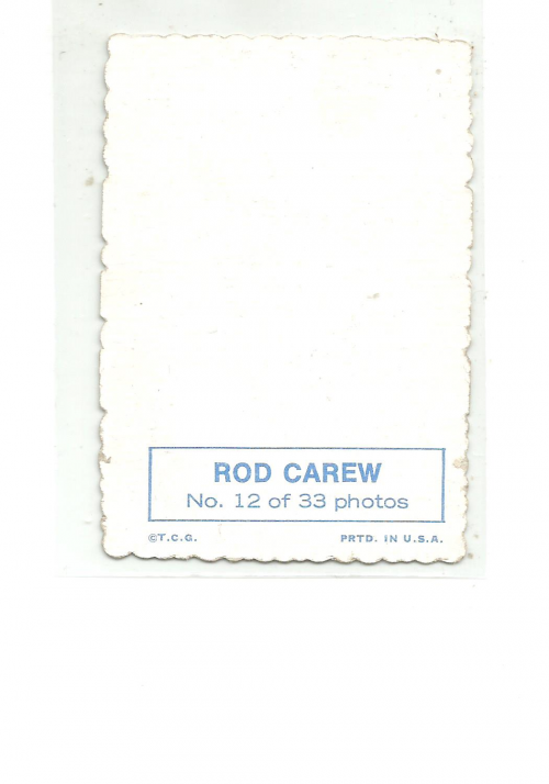 1969 Topps Deckle Edge #12 Rod Carew back image
