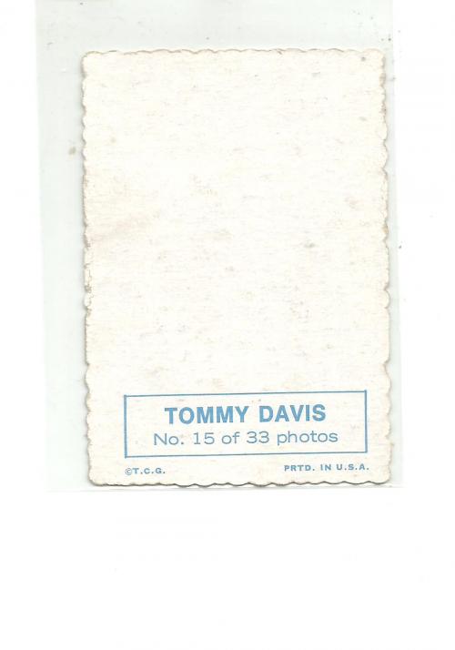 1969 Topps Deckle Edge #15 Tommy Davis back image