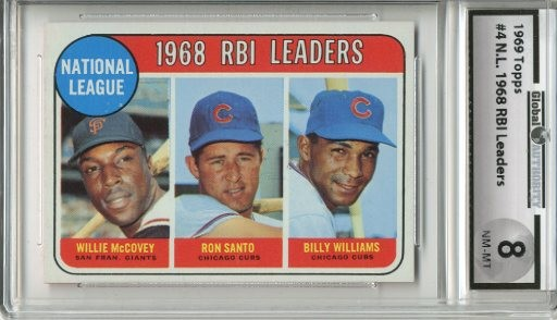 1969 Topps #4 NL RBI Leaders/Willie McCovey/Ron Santo/Billy Williams