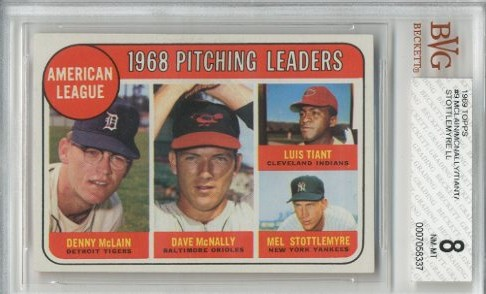 1969 Topps #9 AL Pitching Leaders/Denny McLain/Dave McNally/Luis Tiant/Mel Stottlemyre