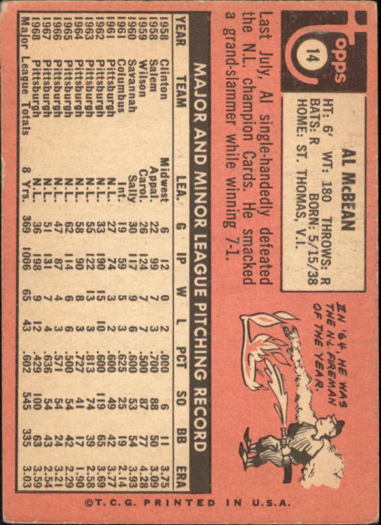 1969 Topps #14 Al McBean back image