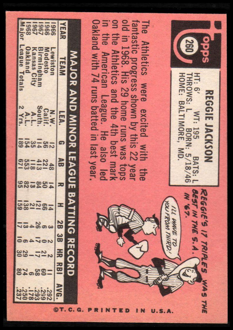 1969 Topps #260 Reggie Jackson RC back image
