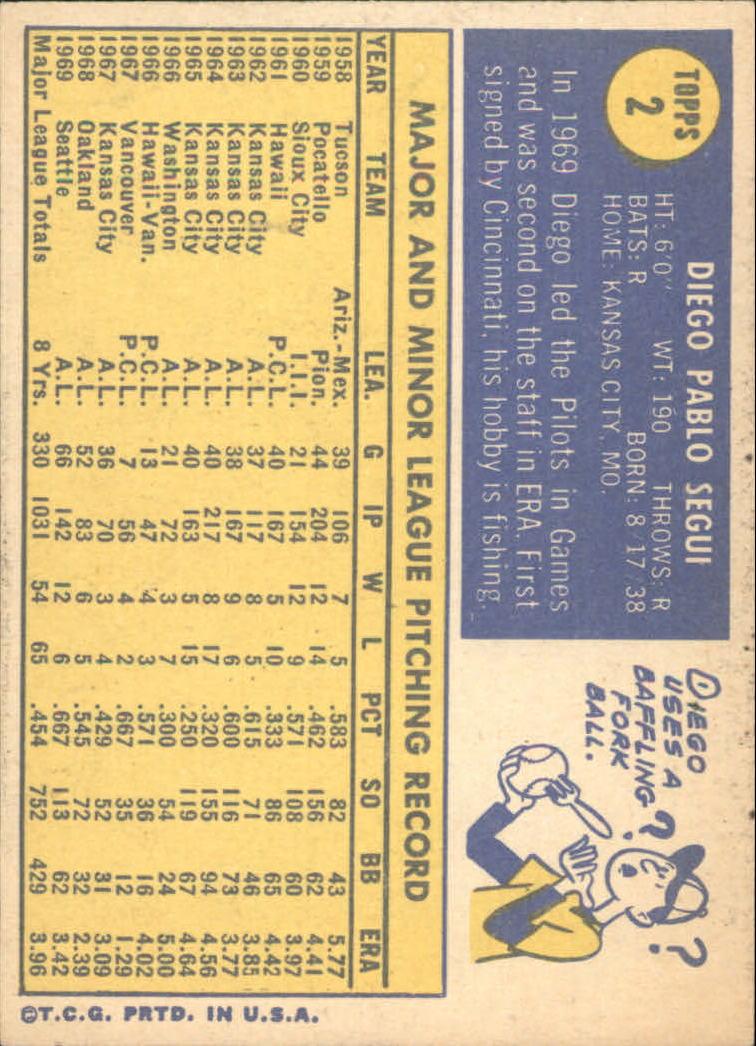 1970 Topps #2 Diego Segui back image