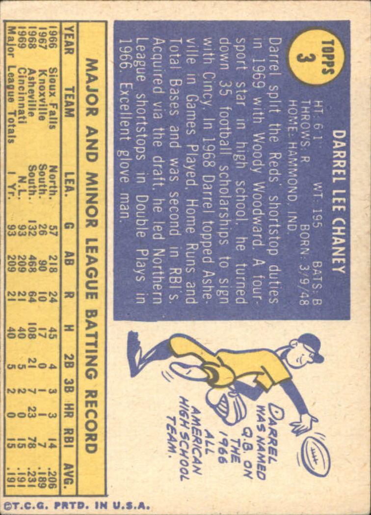 1970 Topps #3 Darrel Chaney back image
