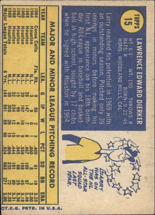 1970 Topps #15 Larry Dierker back image