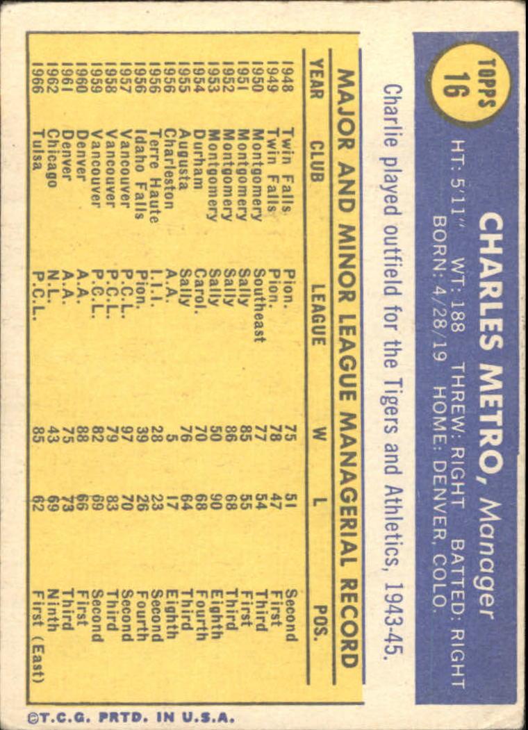 1970 Topps #16 Charlie Metro MG RC back image