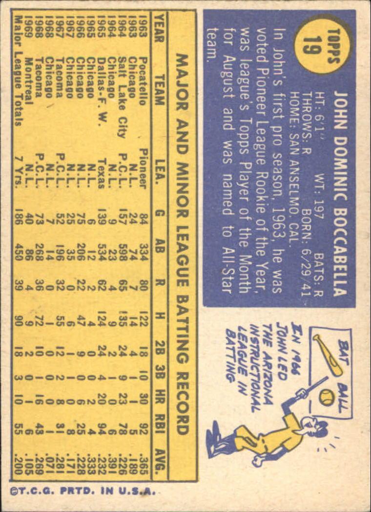 1970 Topps #19 John Boccabella back image
