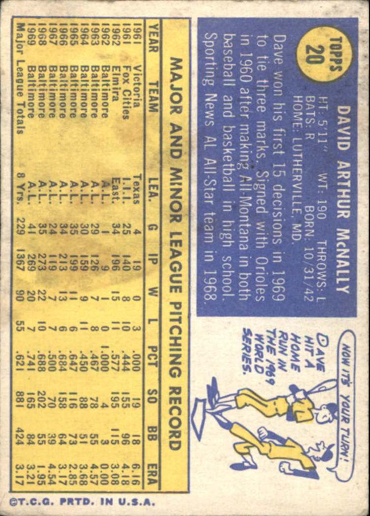 1970 Topps #20 Dave McNally back image