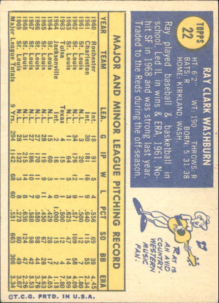 1970 Topps #22 Ray Washburn back image