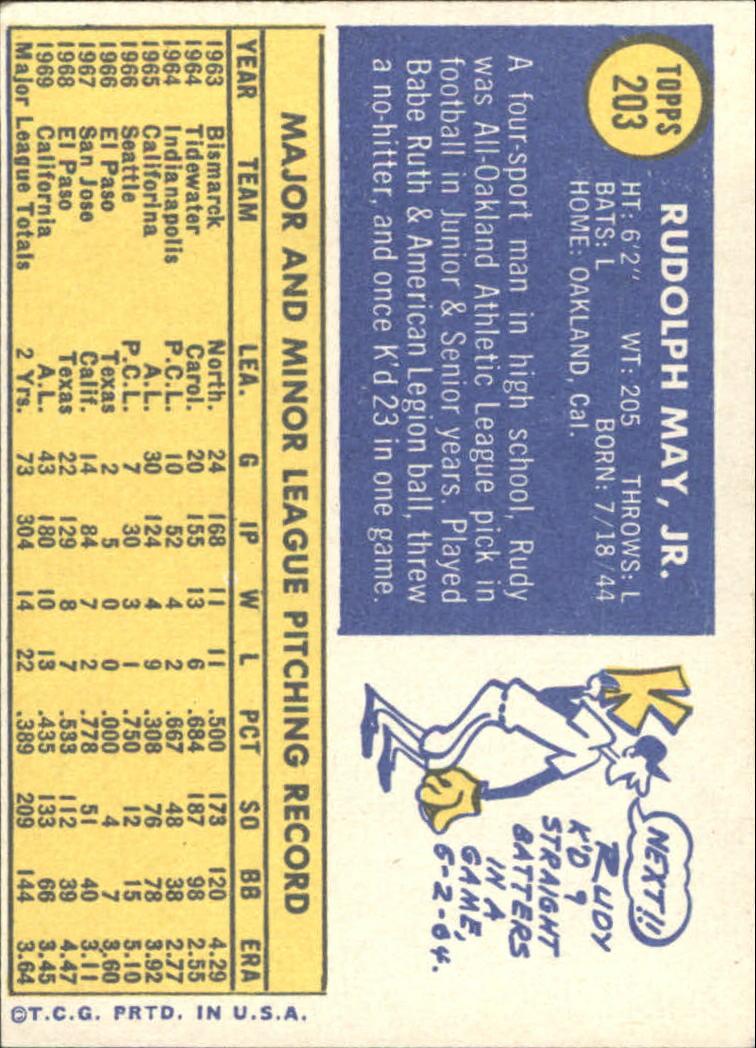 1970 Topps #203 Rudy May back image