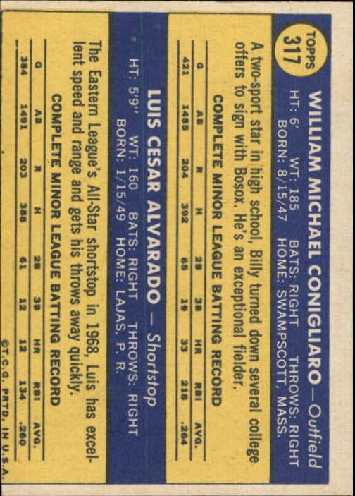 1970 Topps #317 Rookie Stars/Billy Conigliaro/Luis Alvarado RC back image