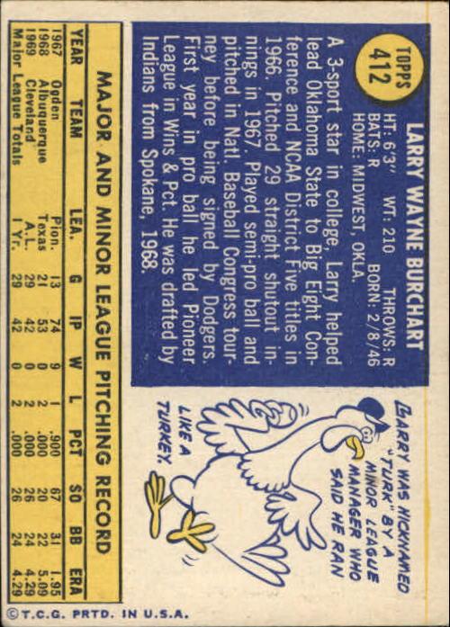 1970 Topps #412 Larry Burchart back image