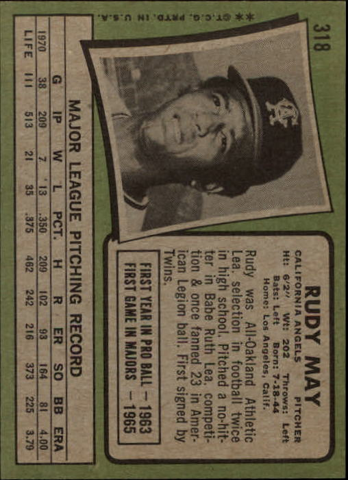 1971 Topps #318 Rudy May back image