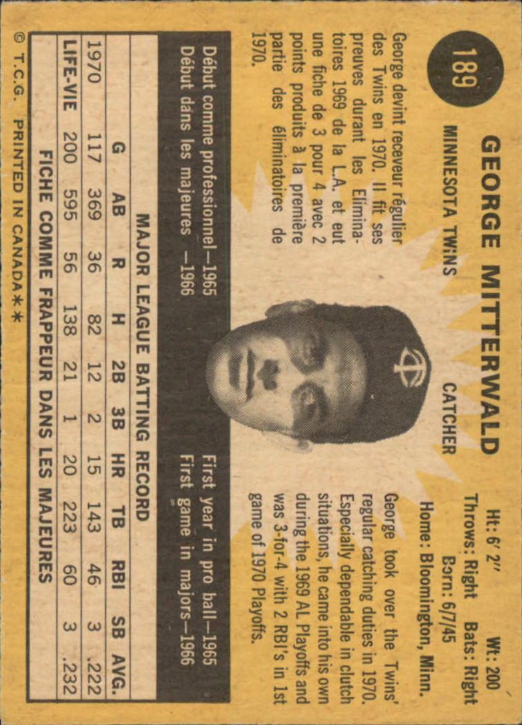 1971 O-Pee-Chee #189 George Mitterwald back image