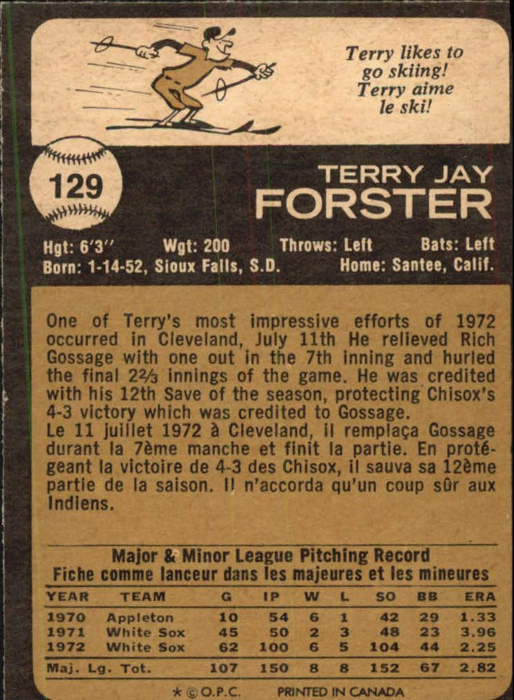 1973 O-Pee-Chee #129 Terry Forster back image