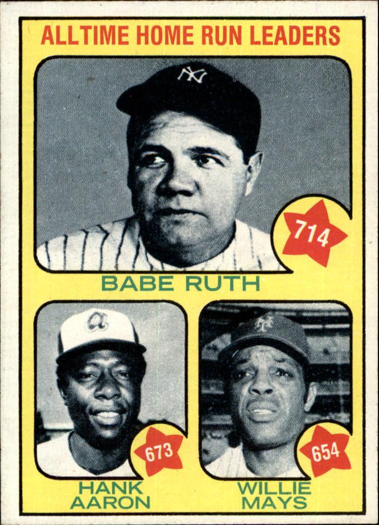1973 Topps 1 Babe Ruth 714hank Aaron 673willie Mays 654