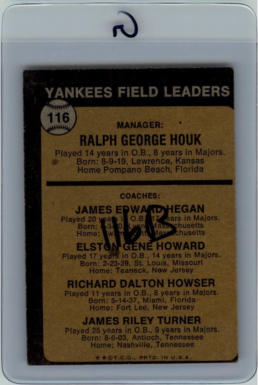 1973 Topps #116B Ralph Houk MG/Jim Hegan CO/Elston Howard CO/Dick Howser CO/Jim Turner CO/Natural backgrounds back image