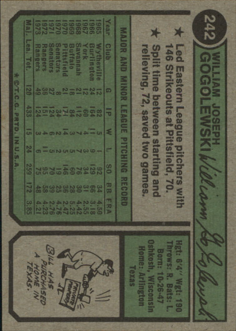 1974 Topps #242 Bill Gogolewski back image