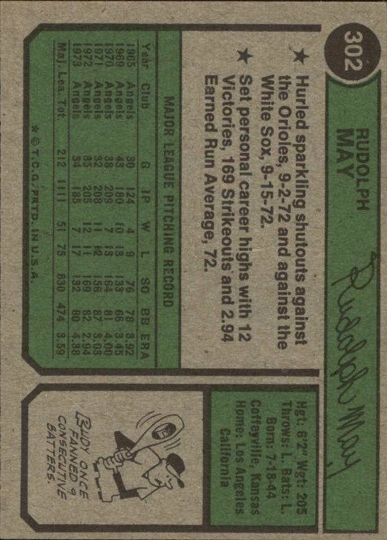 1974 Topps #302 Rudy May back image